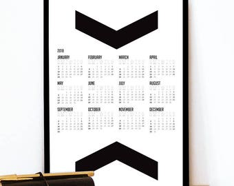 Black and White Calendar 2018 with big chevron graphic Calendar 2018 minimalist design Calendar black and white 2018 calendar art chevron