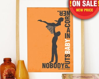 SALE Dirty Dancing 16 x 20 inch size Poster Poster Art print illustration Typography Orange color Dirty Dancing illustration movie poster