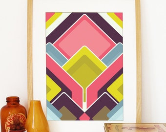 Abstract geometry multicolor palette happy pattern pop of bright color geometric poster abstract art print happy geometry colorful shapes