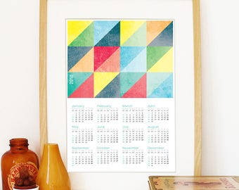 Calendar 2018 triangles grunge textures color retro Poster Print Calendar bright pastel colors 2018 Calendar triangles geometric wall art