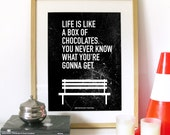 Movie Quote Forrest Gump Typography Art Poster Life is Like a Box of Chocolates. You never know what you're gonna get movie Best movie quote