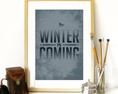 Game of Thrones inspired Poster Art Print Typography with illustration Winter is Coming Poster typography GOT Game of thrones art