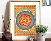Orange pattern inspired in india geometric fabrics Poster inspired India fabric patterns bright colors good vibe pattern symmetry geometric