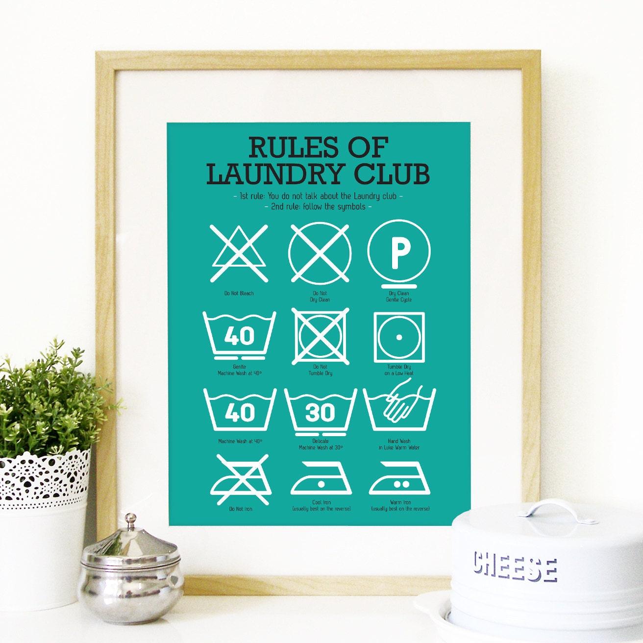 Kitchen Laundry Club Poster Art With Laundry Symbols Explained