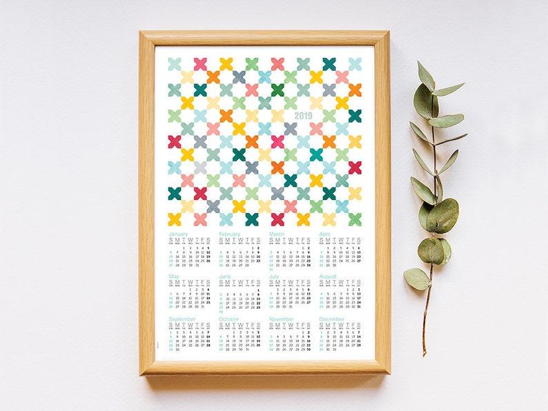 Calendar 2019 pastel colors geometric art inspired in image 0