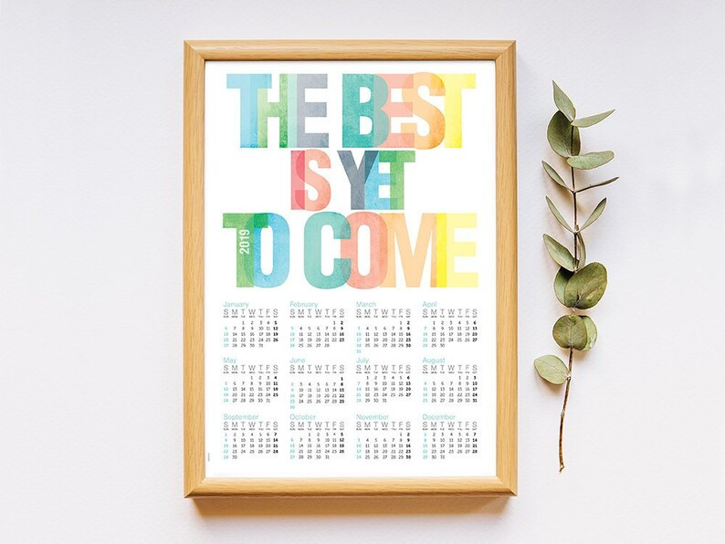 2019 Calendar Poster Typography Print rainbow colors The Best image 0