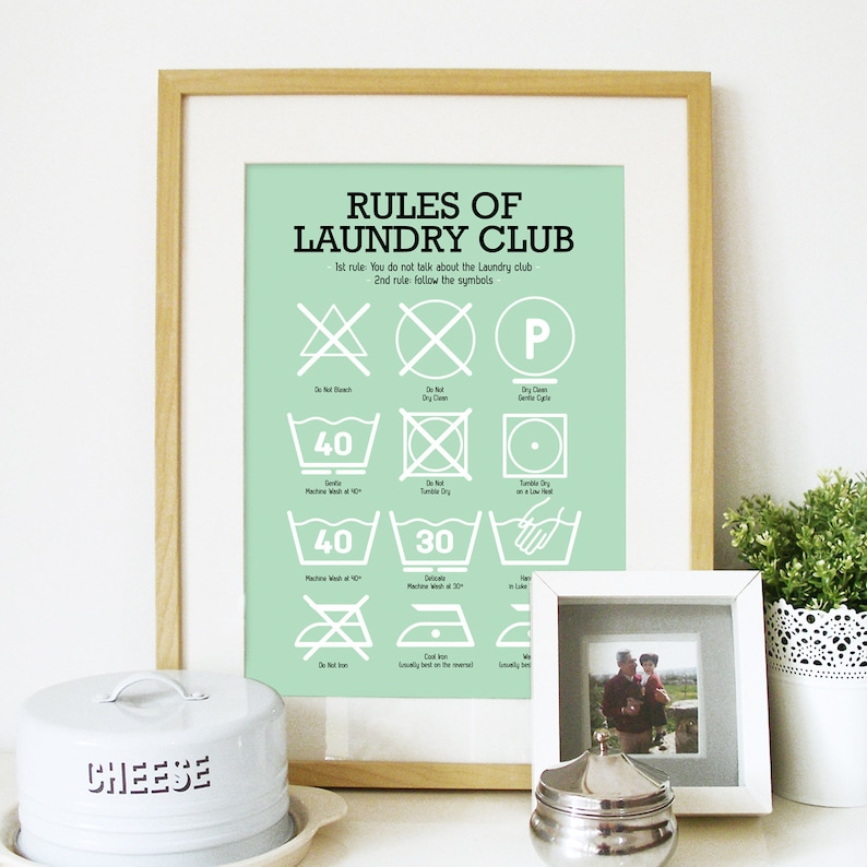 Laundry Room Poster with Laundry Pictograms in Light mint image 0