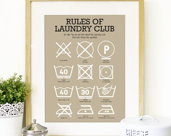 Poster Kitchen Laundry Club Art laundry symbols Mid century vintage decor Poster Art Kitchen art wall in beige kitchen print laundry print
