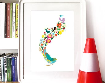 Spring Bird Poster Art Illustration with bird and Spring elements and Nature bright popping colors Bright Summer Spring colors Spring Life
