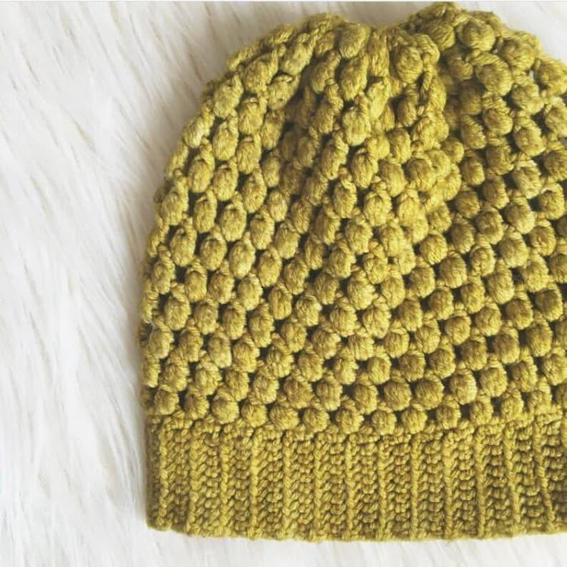 Crochet Puff Stitch Beanie PATTERN image 0