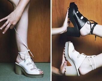 744b42103e4e Platform Shoes Platforms Heels Lace Up Sandals Gladiator Sandals 90s  Platform 70s Platforms 90s Heels Platform Sandals Black Leather Sandals
