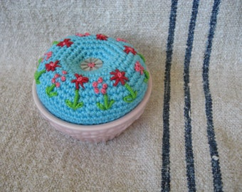 Hand Embroidered Floral Crocheted Pin Cushion in a Vintage Pink Ramekin