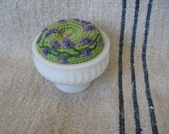Hand Embroidered Floral Crocheted Pin Cushion in a Vintage Milk Glass Jar