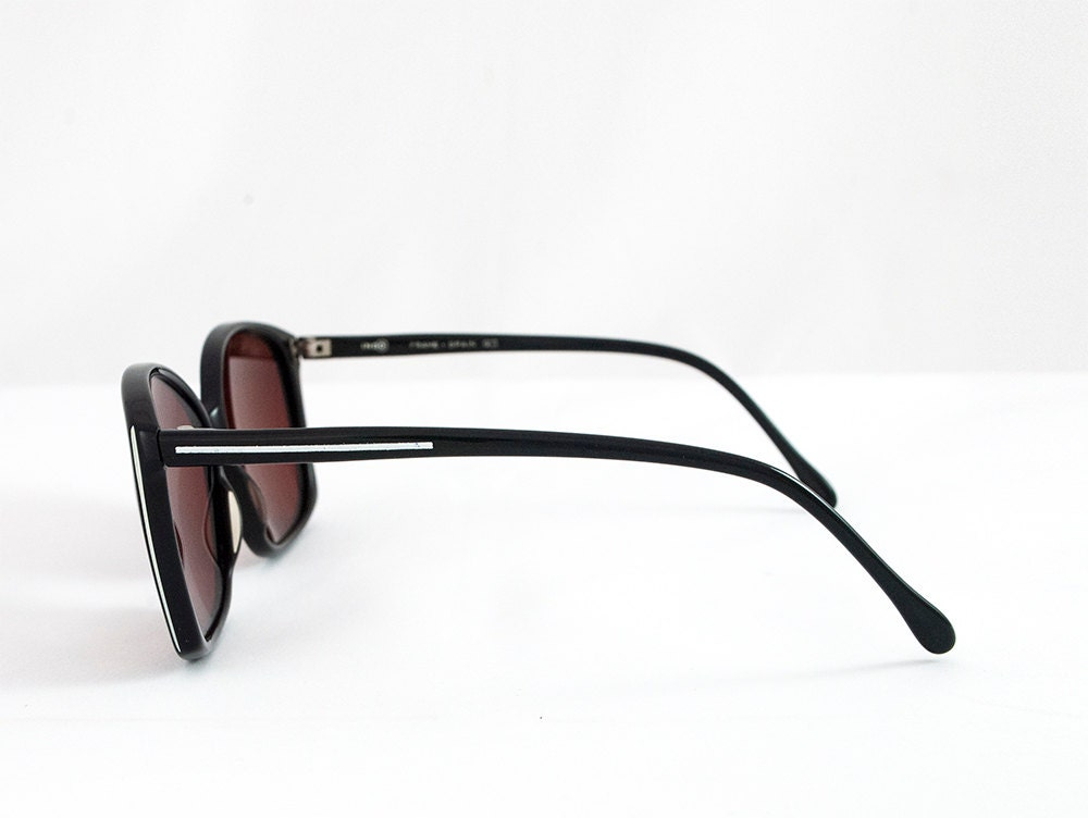 Vintage 90s Oversized Butterfly Glossy Black Sunglasses.