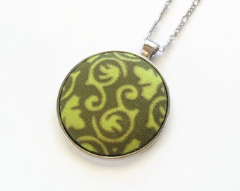 Long pendant necklace chartreuse green - Recycled fabric covered button jewelry - Round pendant coral - Mademoiselle Bouton