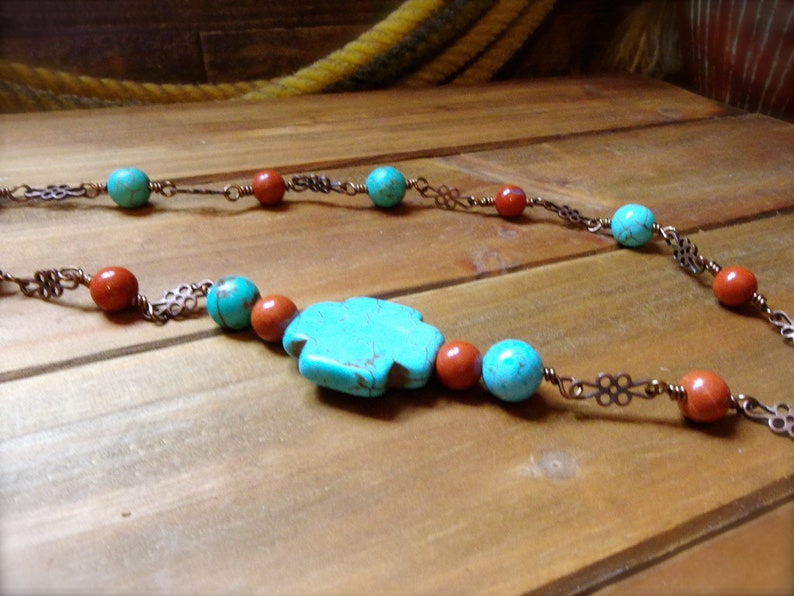 Western Jewelry Rustic Necklace Cowgirl Necklace 2 pc Jewelry Set *ROXIE* Turquoise and Red Jasper Necklace