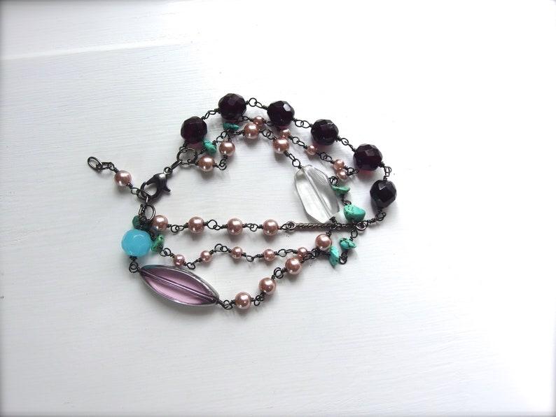 Romantic Jewelry OOAK Handmade Bracelet Triple Strand Wire Wrapped Multi Stone and Glass Bracelet MAEVE5