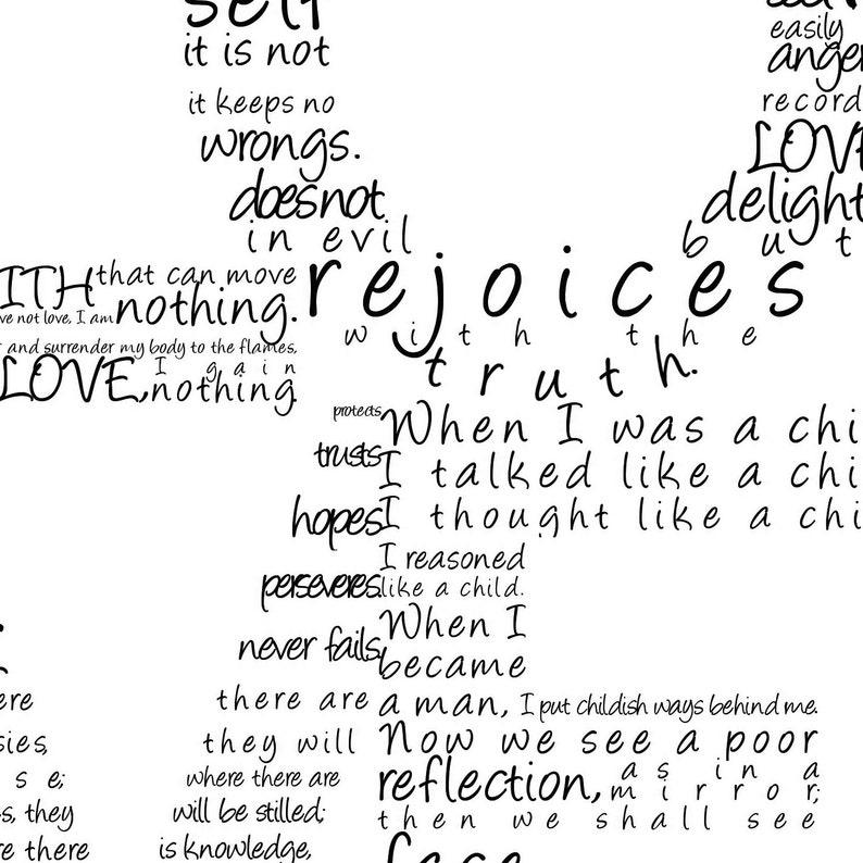 Love Print In Black 1 Corinthians 13 Digital File