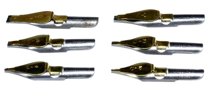 Complete Set In Box Vintage Gold Brass Silver Speedball Dipping PenCalligraphy Nibs 5 Count Poster Art Nibs Vintage Artist/'s Tools