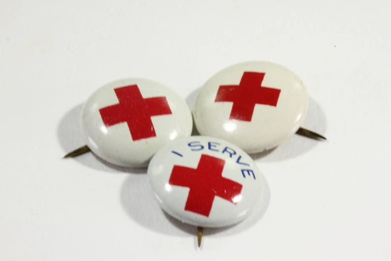 Small Round Vintage Red Cross  I Serve Donation Lapel Pin  image 0