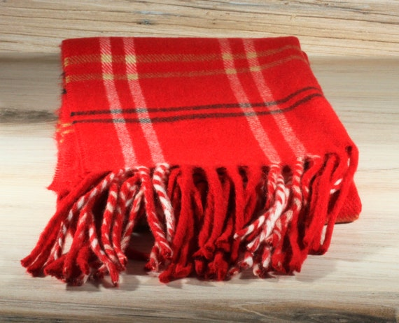 Vintage Red White Black Neck Scarf - Winter Scarf