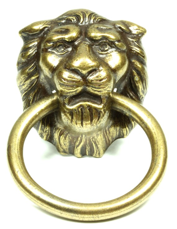 regal lion s head brass antique finish drawer pull etsy