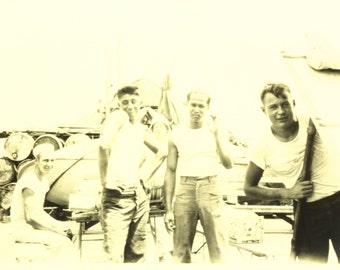 Shipmates Vintage Black and White Sepia Tone Sailor Photograph