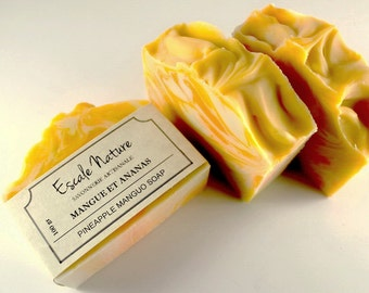 Pineapple-mango soap, Olive soap, Artisan soap with cacao butter and sweet almond oil, Handmade