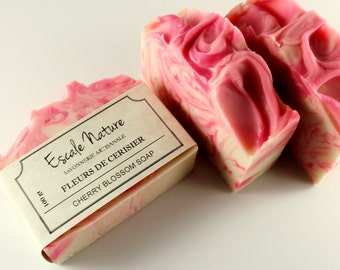 Cherry blossom soap, Olive soap with sweet almond oil and cacao butter, handmade artisan soap