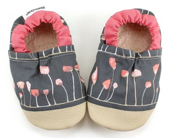 gray flower shoes baby girl booties pink and gray shoes soft sole shoes for baby girl flower booties vegan baby shoes baby shoes baby