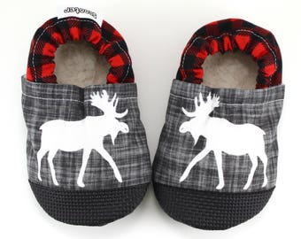 moose baby shoes moose booties buffalo plaid vegan moccs canadian baby red and black soft sole shoes rubber soles moose slippers rubber toes