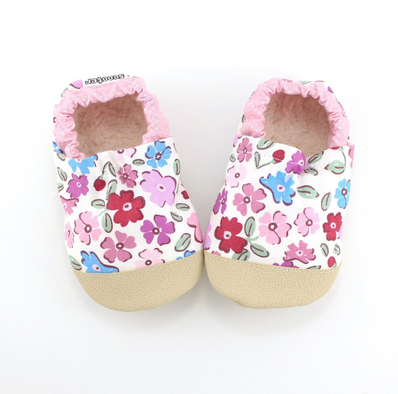 a66e9199437a9 vegan floral baby shoes - girls floral slippers - minimalist kids footwear  - first birthday gift for girl - toddler moccasins with flowers