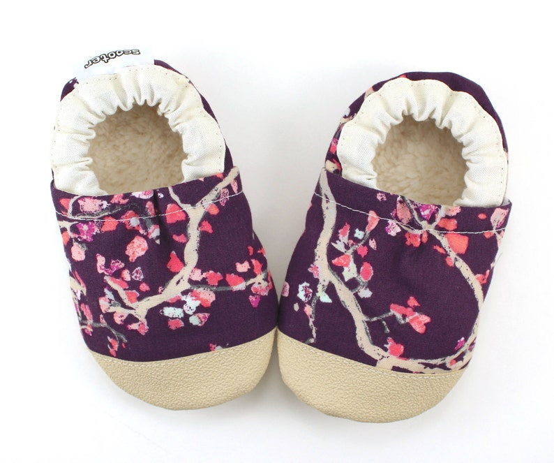 e9105cd74f806 cherry blossom shoes - purple floral kids shoes - cherry blossom slippers -  birthday gift for girl - baby shower gift -vegan soft sole shoes
