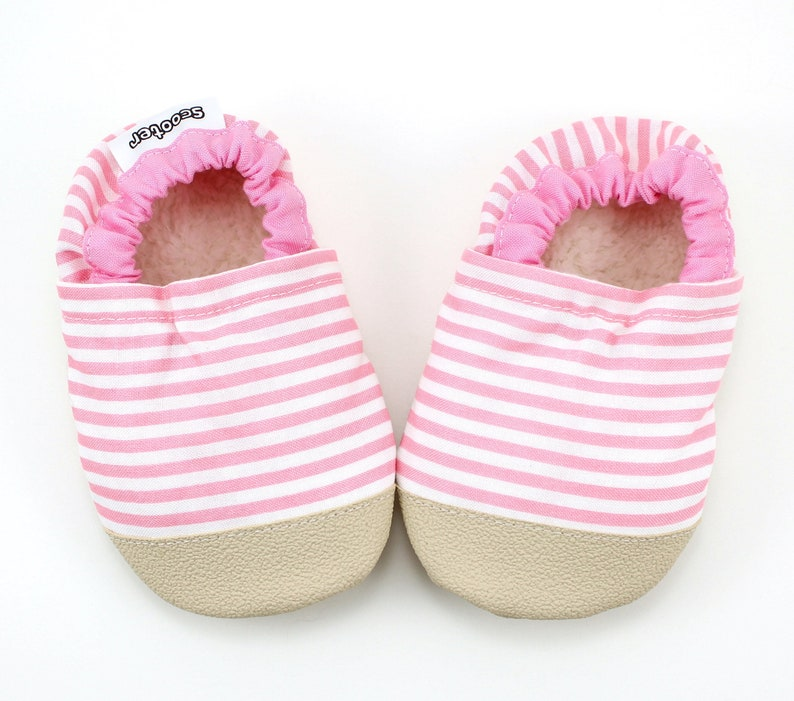 c5ceb2d350356 pink stripe baby shoes - girls pink slippers - pink moccs with rubber sole  - baby shower gift for baby girl - vegan soft sole shoes