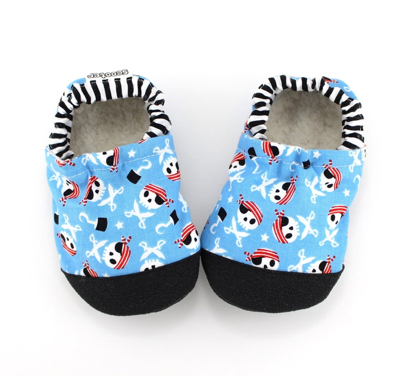 f133a30bf6621 vegan soft sole baby shoes - blue pirate slippers for kids - rubber sole  toddler moccasins - baby pirate booties - baby boy baby shower gift
