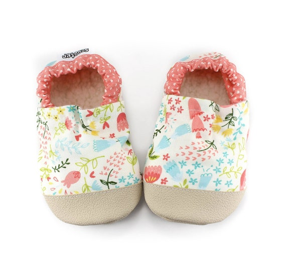 6a78c98ada8f3 floral baby girl shoes - floral kids slippers - rubber sole moccs for  toddler - vegan soft sole shoes -floral baby shower gift for baby girl