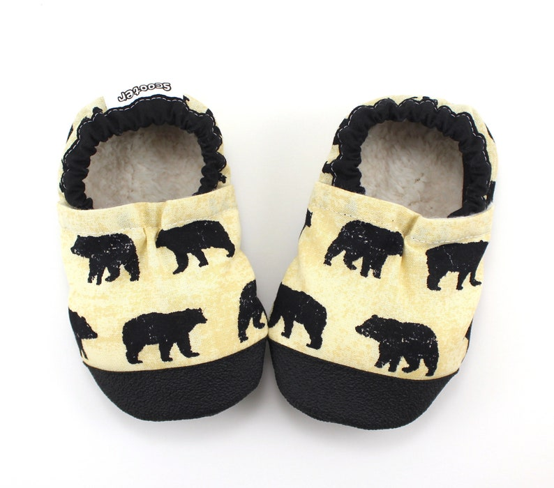 3ba52a90cfb75 black bear shoes - soft sole vegan baby shoes - kids slippers with bears -  mountain theme baby shower gift - big kids soft sole shoes