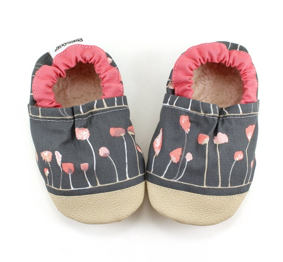 d51dcff07efd7 gray floral baby shoes gray baby moccasins vegan baby shoes with rubber  sole baby shower gift for girl toddler slippers