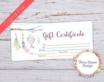 Boho Printable Gift Certificate