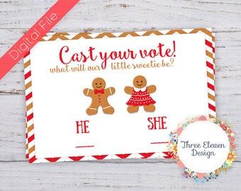 Gingerbread Printable Gender Reveal Voting Insert