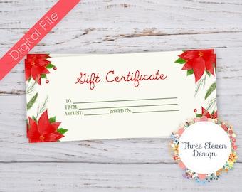 Poinsettia Printable Gift Certificate