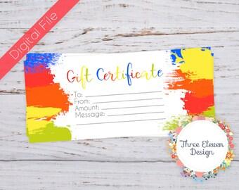 Paint Splatter Printable Gift Certificate