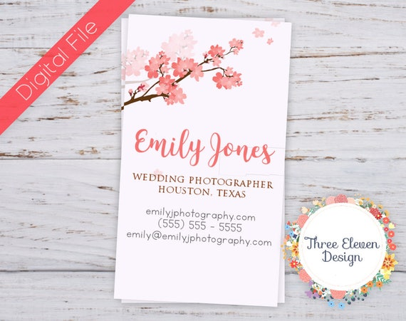 Cherry blossom business card printable business card etsy image 0 colourmoves