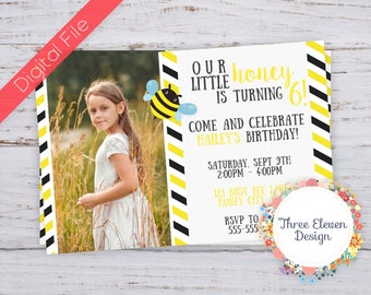Honey Bee Printable Birthday Invitation