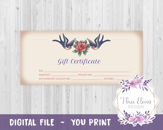 Tattoo Printable Gift Certificate