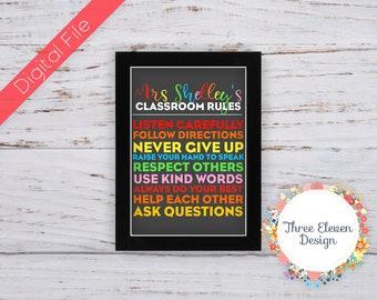 Teacher Appreciation Printable Wall Art - Classroom Rules Printable Wall Art