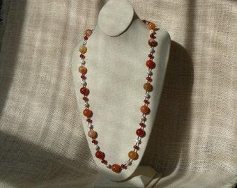Agate, Carnelian & Hematite Necklace