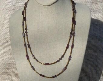 Purple & Matte Gold  Long Necklace