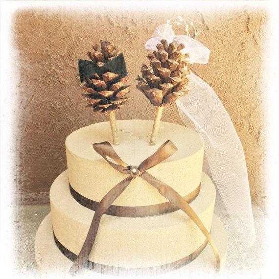 Pine Cone Wedding Cake Topper Winter Wedding Cake Topper | Etsy