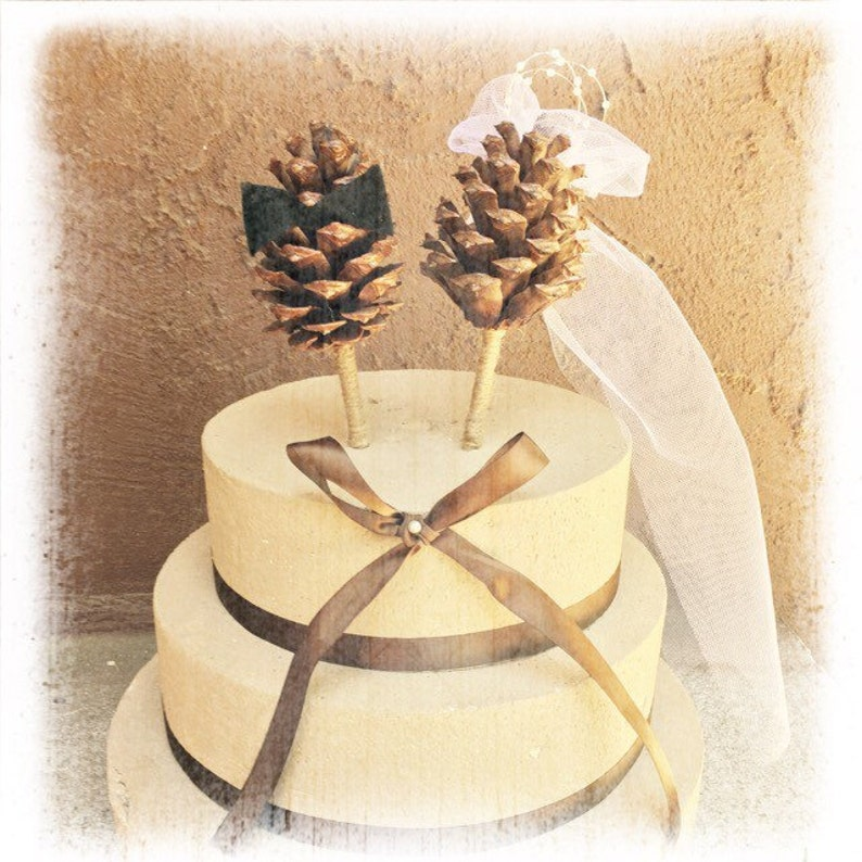 Christmas Wedding Cake Toppers.Pine Cone Wedding Cake Topper Winter Wedding Cake Topper Rustic Wedding Cake Topper Bride Groom Cake Topper Fall Cake Topper